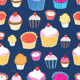 Pattern color delicious cakes. Seamless graphic vector pattern of different cakes on a blue background Royalty Free Stock Images