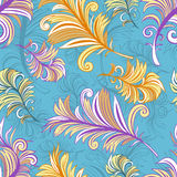 Pattern with colored abstract feathers Royalty Free Stock Image