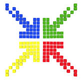 Pattern of colored arrows. Made out of blocks vector illustration