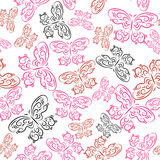 Pattern with colored decorative butterflies Stock Photos