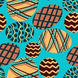 Pattern with colored eggs on a blue background vector illustration