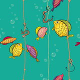 Pattern of a colored fishes Royalty Free Stock Images