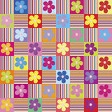 Pattern with colored flowers. And stripes Royalty Free Stock Images