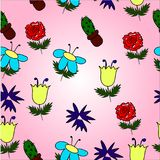 Pattern with colored flowers stock illustration