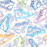 Pattern with colored gumshoes Stock Images