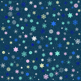 Pattern of colored patterned snowflakes Stock Image