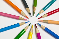 Pattern of colored pencil crayons Royalty Free Stock Photo