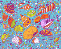 Pattern colored seashells and stones Royalty Free Stock Photography