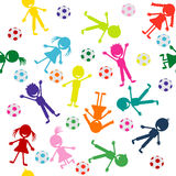 Pattern with colored smiling kids Stock Photos