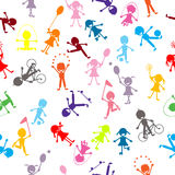 Pattern with colored stylized kids Royalty Free Stock Images