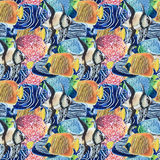 Pattern of colored tropical fish watercolor dense flock. Watercolor color tropical fish background seamless pattern Royalty Free Stock Images
