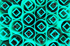 Pattern of colored tubes, repeated square elements, black hexagons and surfaces. Abstract background. 3D rendering illustration vector illustration