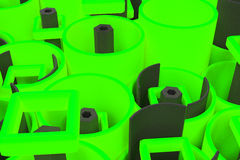 Pattern of colored tubes, repeated square elements, black hexagons and surfaces. Abstract background. 3D rendering illustration royalty free illustration