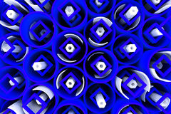 Pattern of colored tubes, repeated square elements, white hexagons and surfaces. Abstract background. 3D rendering illustration stock illustration