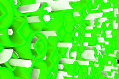 Pattern of colored tubes, repeated square elements, white hexagons and surfaces. Abstract background. 3D rendering illustration royalty free illustration