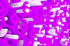Pattern of colored tubes, repeated square elements, white hexago Stock Photos