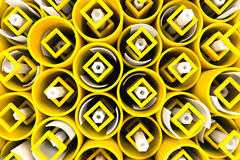Pattern of colored tubes, repeated square elements, white hexago Royalty Free Stock Image
