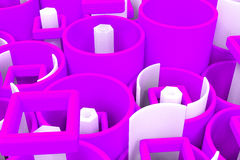 Pattern of colored tubes, repeated square elements, white hexago Stock Photo