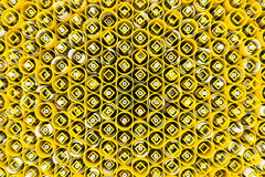 Pattern of colored tubes, repeated square elements, white hexago Stock Image