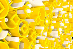 Pattern of colored tubes, repeated square elements, white hexagons and surfaces. Abstract background. 3D rendering illustration vector illustration