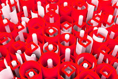 Pattern of colored tubes, repeated square elements, white hexago Royalty Free Stock Photo