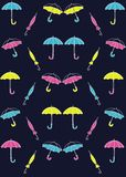 Pattern colored umbrellas on a blue background vector illustration