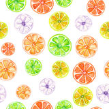 Pattern with colored watercolor candied fruits Royalty Free Stock Photography