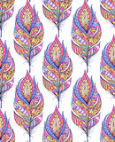 Pattern with colorful abstract feathers Royalty Free Stock Photo