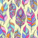 Pattern with colorful abstract feathers Royalty Free Stock Image