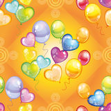 Pattern with colorful balloons on green background Stock Photo