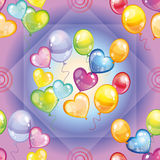 Pattern with colorful balloons on purple background Stock Photo