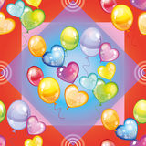 Pattern with colorful balloons on red background Stock Images