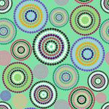 Pattern colorful circles. Polka dot on green background royalty free illustration