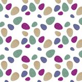Pattern with colorful Easter eggs with green,violet,purple and beige background, wavy yellow line. royalty free stock photo