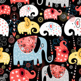 Pattern of colorful elephants Royalty Free Stock Photo