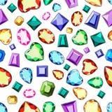 Seamless pattern with diamonds. Rim for gems. Pattern with colorful gems. A set of diamonds. Multicolored gems. Set of multicolored gemstones. Stylish wallpaper stock illustration