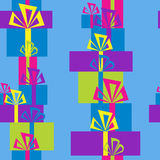 Pattern with colorful gift boxes Royalty Free Stock Images