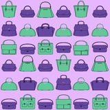 Pattern of colorful handbags on purple background. Pattern of colorful female handbags on the purple background Royalty Free Stock Photography