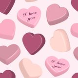 Pattern with colorful hearts Stock Images
