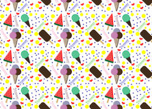Pattern with colorful ice cream and circles Stock Photography