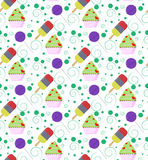 Pattern with colorful ice cream, cupcake, lollipop and circles Royalty Free Stock Photography
