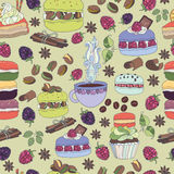 Pattern colorful macaroons and cakes Royalty Free Stock Photography