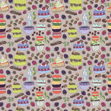 Pattern colorful macaroons and cakes Stock Photos