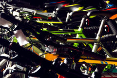 Pattern of colorful mountain bicycles for summer, off-road cycli Royalty Free Stock Photography