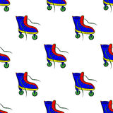 Pattern with colorful retro roller skates Stock Images