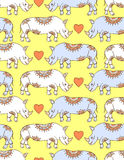 Pattern with colorful rhinoceroses Stock Image