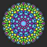 Pattern-01. Colorful round symmetry pattern, mandala, rosette on dark background Stock Image