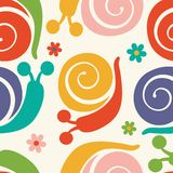 Pattern with colorful snails and flowers Royalty Free Stock Images