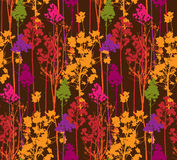 Pattern with colorful trees on brown background Royalty Free Stock Image
