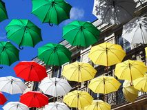 Colorful Umbrella Sky royalty free stock image